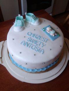 White and blue Christening cake