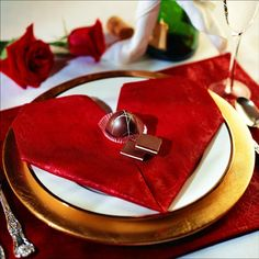 A Little Romance napkin fold: This heart-shaped fold is appropriate for any heartfelt occasion, such as Valentine's Day, Mother's Day, or a wedding reception.
