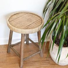 Bring in vintage vibes with this wooden caned side table! This will add a lived-in & collected feel to your space. Great as a vanity stool, small side table, bathroom stool or plant stand. Dimensions: x Reclaimed Wood Projects, Reclaimed Wood Furniture, Reclaimed Barn Wood, Space Saving Furniture, Home Decor Furniture, Furniture Design, Round Stool, Vintage Industrial Furniture, Vanity Decor
