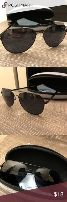45mm Polarized Aviators Bought at a boutique in Hong Kong for 600 rnb, never worn deadstock. Lenses are polarized, will include carrying case and cloth!  Price is firm because of the extras. Glasses aren't brand name but the quality is on point. ALI frame and polarized lenses. Accessories Sunglasses