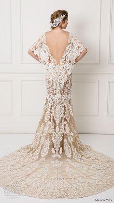 Maison Yeya 2017 bridal flutter sleeves v neck full embellishment elegant lace sheath wedding dress open v back chapel train (8) bv #wedding #bridal