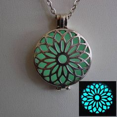 Glow In The Dark Silver Lotus Flower Necklace ~ Locket Bright Aqua Glow with Free UV Charging Light Silver Locket Necklace, Silver Lockets, Silver Necklaces, Lotus Flower Design, Dreamland Jewelry, Precious Metal Clay, Silver Engagement Rings, Blue Topaz Ring, I Love Jewelry