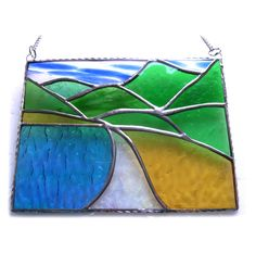 Tropical Beach Stained Glass Suncatcher Landscape Scenic Picture - The British Craft House Craft House, Different Textures, Glass Texture, Holiday Travel, Glass Panels, Suncatchers, Home Crafts, Iridescent, Stained Glass