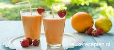 oranje smoothie Milkshake Drink, Milkshakes, Orange Smoothie, Non Alcoholic Drinks, Frisk, Slushies, Feel Good, Juice, Goodies