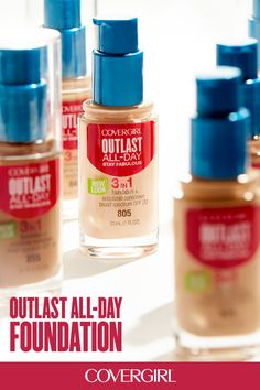 COVERGIRL's Outlast All-Day 3-in-1 Foundation has a 3-in-1 formula that fuses primer, concealer and foundation! It's your go-to foundation for a flawless look that last all day.