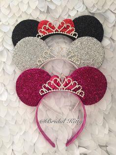 Disney Wedding Minnie Mouse Ears Crown Tiara, Disney Bachelorette Party Veil, Minnie Mouse Tiara Headnand, Disney Bridal Shower Theme