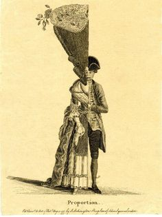 """""""Proportion"""". Published in 1777 by J Lockington, this half-man half-woman print contrasts the gender styles of the time, exaggerating the female fashion and hairdo, while the male's appearance is more natural by comparison."""