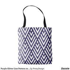 Purple Glitter Line Pattern on Tote Bag
