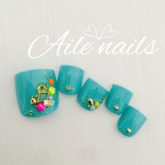 #foot nails #neon #bejeweled