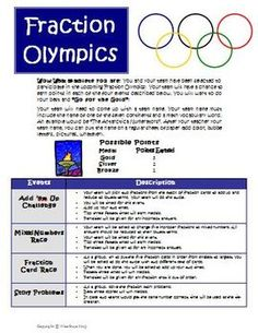 Fractions Olympics Math Games and Activities Common Core Aligned! $