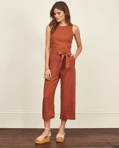 Lightweight and drapey with a scoop neckline, pretty stitched detailing, cropped pants and tie waist belt, Vintage-Inspired Fit, Imported