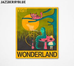 Alice in Wonderland Travel Poster Style Pop by JazzberryBlue, $30.00