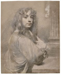 Sir Peter Lely (Soest 1618-1680 London), Self-portrait. Black and coloured chalks heightened with white; signed lower right: PLely. fe. on H. (PL in monogram), 386 by 311 mm