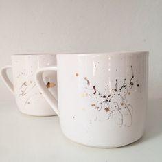 Gold splatter mugs