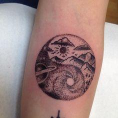 Dot work tattoo universe black hole. Yin Yang Tattoos, Dot Work Tattoo, Tatting, Universe, Dots, Skull, Fantasy, Hair, Black