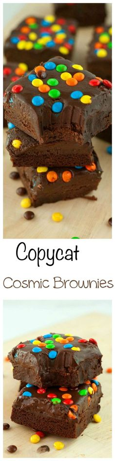 Copycat Cosmic Brownies: Thick, fudgy brownies smothered in silky smooth chocolate ganache, and topped with M&M candies.
