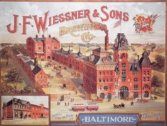 "Wiessner American BREWERY. 1700 N. Gay St, Baltimore, MD. The American Brewery building was built in 1877 for the J.F Wiessner & Sons Brewing Co., and was originally one of two dozen buildings in a five-acre brewery complex. This complex replaced the original Wiessner Brewery building that was much smaller and built in 1864."" A cool old building! They don't make 'em like this any more!"