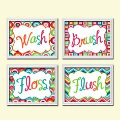 Custom Colorful Bold Set of 4 Wash Brush Floss Floss Wall Decor Art Picture Child Bathroom Poster Geometric Pattern
