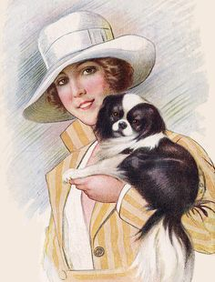 JAPANESE CHIN PRETTY LADY AND LITTLE DOG LOVELY PRINT MOUNTED READY TO FRAME uk.picclick.com