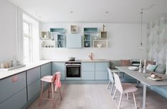 A Danish kitchen in pretty pastels