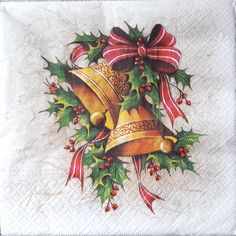 4 Vintage Table Paper Napkins for Decoupage Lunch Decopatch Christmas Bells Vintage Christmas Cards, Retro Christmas, Christmas Bells, Christmas Greeting Cards, Christmas Art, Christmas Greetings, Christmas Traditions, Christmas Ornaments, Christmas Drawing