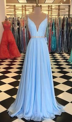 Light Blue Prom Dress Deep V Neckline, Back To School Dresses, Prom Dresses For Teens, Pageant Dress,Graduation Party Dresses Cute Prom Dresses, Wedding Party Dresses, Pretty Dresses, Bridesmaid Dresses, Light Blue Prom Dresses, Dress Prom, Maxi Dresses, Prom Dresses For Teens Long, Evening Dresses