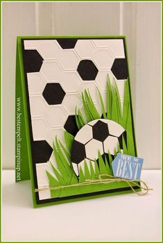 Stampin' Up! … handmade card from www.de: Cards for Dad … hexagon… Stampin' Up! … handmade card from www.de: Cards for Dad … hexagons … soccer ball in grass … luv the use of die cut hexagons … fab card! Birthday Cards For Boys, Handmade Birthday Cards, Greeting Cards Handmade, Birthday Kids, Soccer Birthday, Handmade Stamps, Birthday Design, Birthday Crafts, Card Birthday
