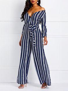 e117c9739742 Lace-Up Stripe Casual High Waist Wide Legs Jumpsuit