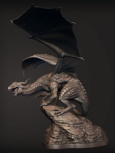 I posed out the Dragon I made in the Dragons Workshop and added a rocky base for him to perch on. Here's a quick Gumroad tutorial of the pose Dragon Statue, Dragon Art, Diorama, Dragon Poses, Crystal Dragon, Ganesha Art, Fantasy Monster, Small Sculptures, Fantasy Miniatures