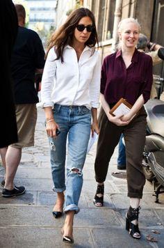 Stylish Ways To Wear Boyfriend Jeans:  two classics.  good year round!