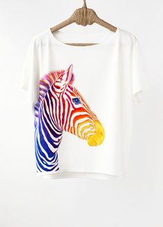 Hand Painted Designer Shirts Handpainted Animal Shirt Zebra Shirt Zebra Tshirt Painted Clothing Rainbow Colorful Shirt Painting Art Rainbow