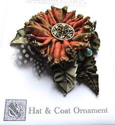 Cynthia Emerlye, Vermont artist and kirigami papercutter: Ribbonwork Hat, Coat & Hair Ornaments - Reds