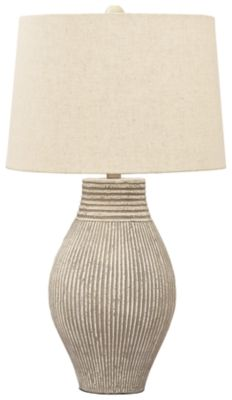 Signature Design Layal Paper Table Lamp in Black - Ashley Furniture its textural elements and neutral hues, this table lamp is a natural fit for so many spaces. Paper composite base with organic texture feels wonderfully at Featur Table Lamp Base, Light Table, Table Lamps, Condo Living Room, Paper Table, I Saw The Light, Signature Design, Drum Shade, Decorating Tips