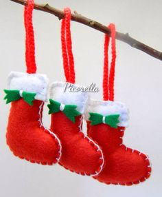 **The listing is for a set of 3 Felted Stocking Christmas Ornament ** These ornaments are handmade in Non Smoking and No Pets Area. They are cut from