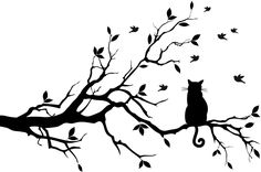 cat+artwork | Cat On Long Tree Branch Wall Sticker Animals Cats And Dogs Art Decal ...