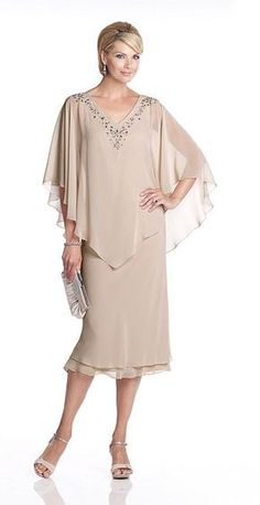 Wedding Dresses Ball Gown, Chic Chiffon V-neck Neckline Capelet Sleeves Sheath Tea-length Mother Of The Bride Dress With Beadings MagBridal Tea Length Dresses, Plus Size Dresses, Mother Of The Bride Gown, Mothers Dresses, Bride Dresses, Halter Dresses, Linen Dresses, Fall Dresses, Wedding Dresses