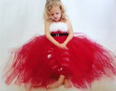 little girls red Christmas tutu by callie