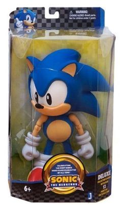 "Sonic ~10"" Deluxe Figure: Sonic the Hedgehog Deluxe Figure Series [1991 Design Edition] by Jazwares"