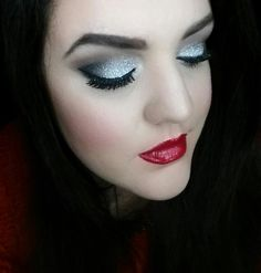 Makeup,  beauty,  glitter,  silver, eyeshadow , red lips,  too faced, e.l.f., sinfulcolours,  Maybelline, holiday makeup, new years eve makeup