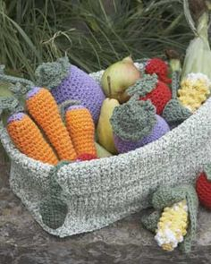 Crochet 2-Strand Fold Basket and link to veggies