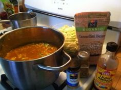 Pot of vegetable/bean soup in the works