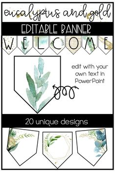 Eucalyptus and Gold Classroom Decor: EDITABLE BANNER This trendy, watercolor, geometric editable banner is perfect for your gold and eucalyptus classroom decor. There are 20 editable banners that can be edited with your favorite fonts through PowerPoint. Classroom Setting, Classroom Design, Classroom Displays, Future Classroom, School Classroom, Classroom Themes, Classroom Organization, Classroom Board, Class Decoration