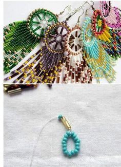 dream catcher with beads Beaded Earrings Patterns, Beading Patterns, Crochet Earrings, Bead Embroidery Tutorial, Beaded Embroidery, Seed Bead Jewelry, Seed Bead Earrings, Earring Tutorial, Diy Jewelry Making