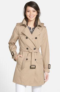 Ellen Tracy Cotton Blend Short Trench Coat (Regular & Petite ...