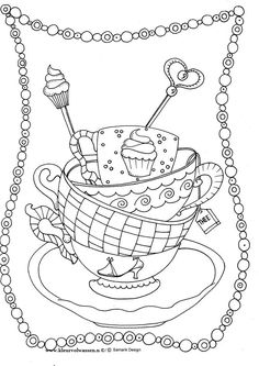 coloring page tea cups