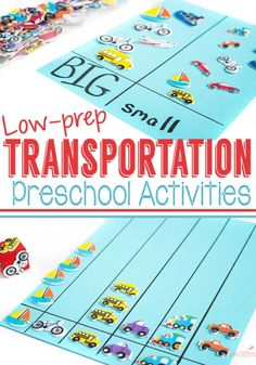 Transportation Theme Preschool Activities - Life Over Cs Low-prep transportation theme preschool activities! One pack of activities! Graphing, memory, sorting, language development and more! Plus, some great printables for a transportation theme. Cars Preschool, Transportation Preschool Activities, Transportation Unit, Preschool Curriculum, Preschool Themes, Preschool Lessons, Preschool Language Activities, Construction Theme Preschool, Preschool Printables