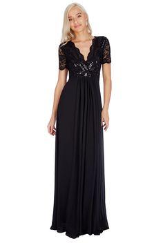 Sequin Chiffon Maxi Dress - Black - Front - DR683