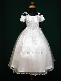 Off Shoulder Short Sleeve White Satin First Communion Dress #firstcommuniondresses
