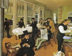 Edgar Degas (French artist, 1834–1917) painted the picture of this cotton office in 1873, while visiting his mother's Louisiana relatives.