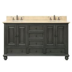 Avanity Thompson 61 in. W x 22 in. D x 35 in. H Vanity in Charcoal Glaze with Marble Vanity Top in Galala Beige with Basin
